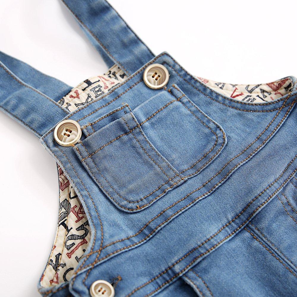 Kidscool Baby & Little Boys/Girls Stone Washed Big Bib Jeans Overalls