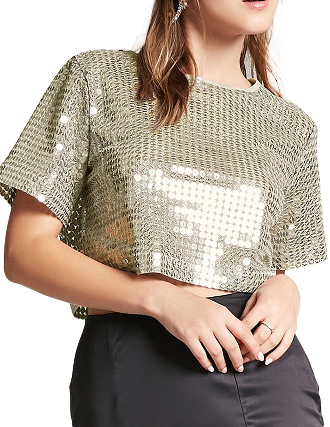 4847b40a5a05d hodoyi Women Sparkly Sequins Crew Neck Crop Top Club Blouse Tee Shirt at  Amazon Women s Clothing store