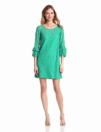 Jessica Howard Women's 3/4 Flutter Sleeve Shift Dress, Green, 6