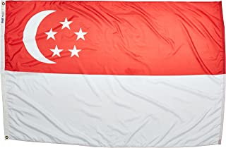product image for Annin Flagmakers Model 197396 Singapore Flag Nylon SolarGuard NYL-Glo, 4x6 ft, 100% Made in USA to Official United Nations Design Specifications