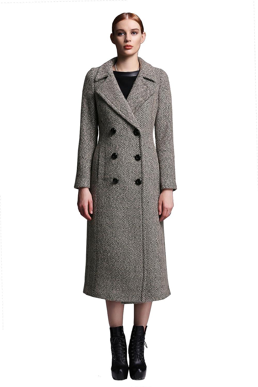 YueSpace Long Sleeve Elegant Wool Blend Ribbed Aline Coat