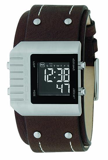 Fossil JR9680 - Reloj digital de cuarzo para hombre con correa de piel, color marrón: Amazon.es: Relojes