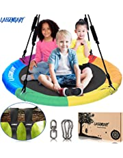 100 cm Round Saucer Tree Swing for Kids | Indoor Outdoor Tire Swingset Toys - 2 Tree Straps, 2 Carabiners, 1 Swivel | 200 kg Capacity Sensory Web Swings | Durable Steel Frame, Waterproof for Outside