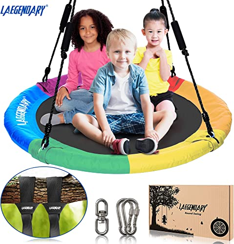 L GENDARY 40 Inch Flying Saucer Tree Swing for Kids – Round Indoor Outdoor Swingset Toys – 700 Pounds Sensory Web Tire Swings – 2 Tree Straps, 2 Carabiners, 1 Swivel Multicolored