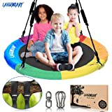 100 Centimeters Flying Saucer Tree Swing for Kids - Round Indoor Outdoor Swingset Toys - 200 Kilograms Sensory Web Tire Swings - 2 Tree Straps, 2 Carabiners, 1 Swivel - Durable Frame, Waterproof Yard Swings Set