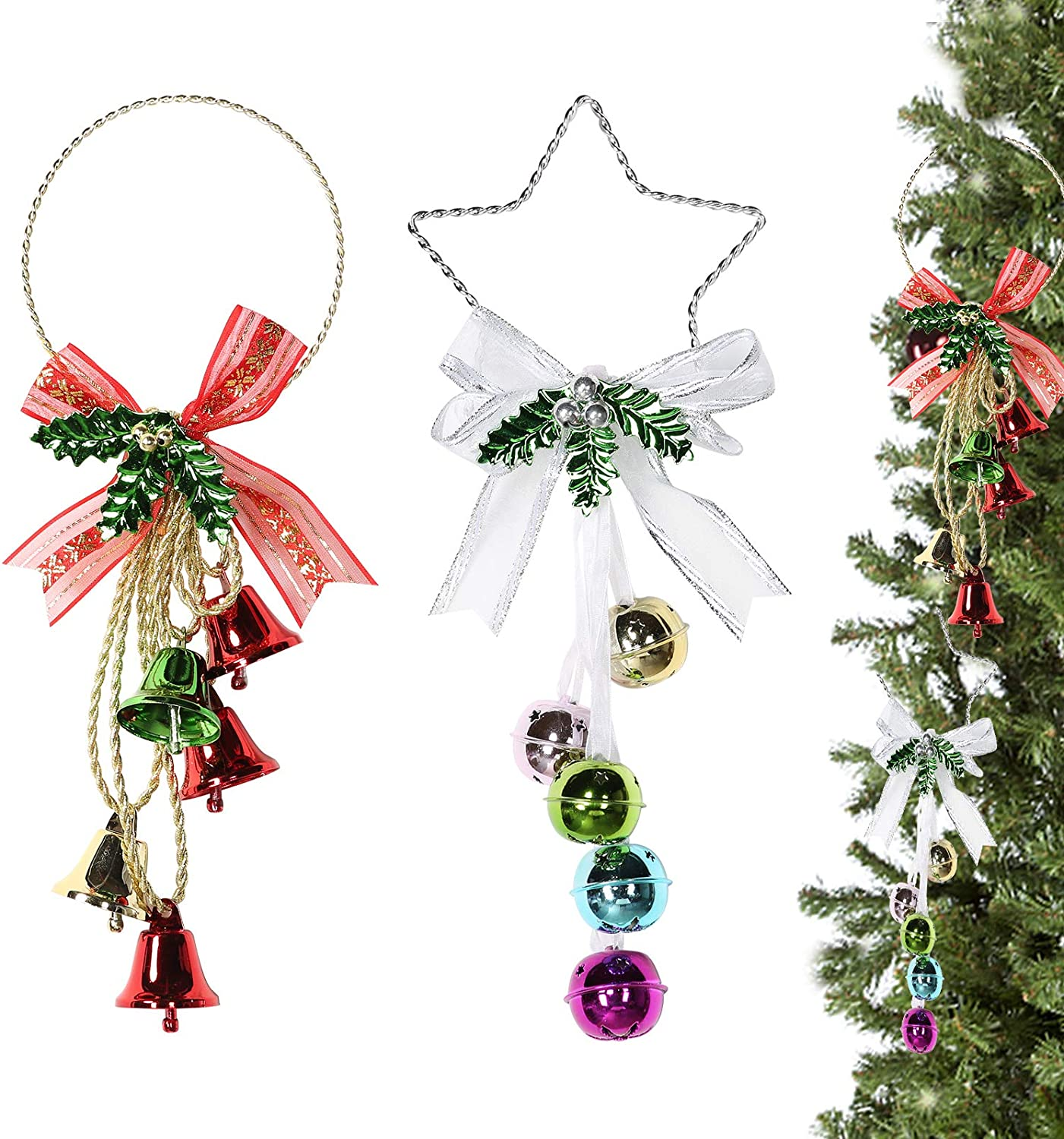 VECELO 2 Pack Christmas Ornaments for Family Home Decoration Christmas Jingle Bell Hanging Pendant Decorations for Christmas & Parties (Red(Round)+Star(Silver))