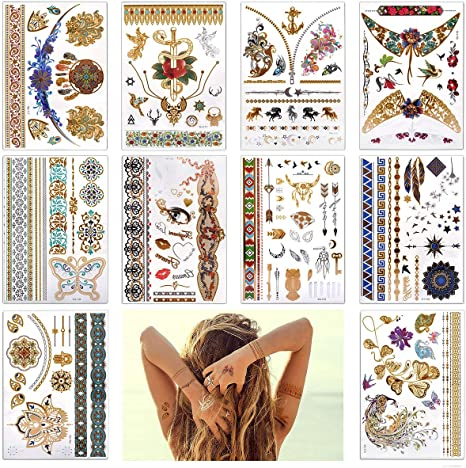 Lady Up 10 Large Sheet 75 Designs Metallic Flash Tattoos For Women Jewellery Temporary Tattoo Indian Body Art Henna Gold Silver Color Gold Amazon Sg Beauty