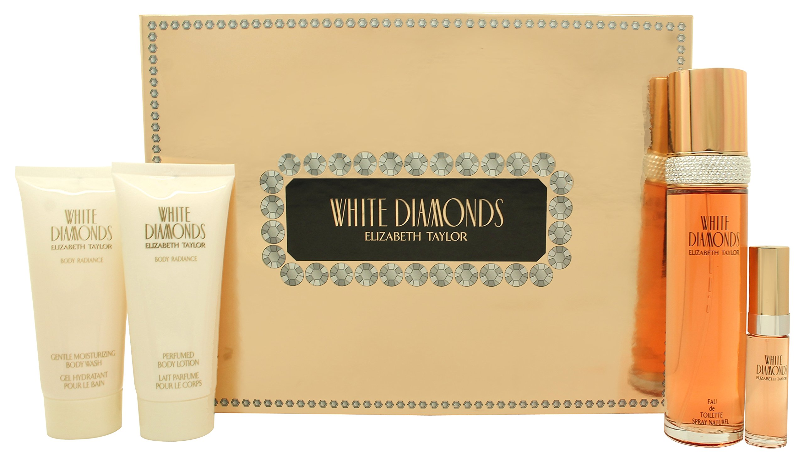 Elizabeth Taylor White Diamonds Gift Set 3.4oz (100ml) EDT + 3.4oz (100ml) Body Lotion + 3.4oz (100m