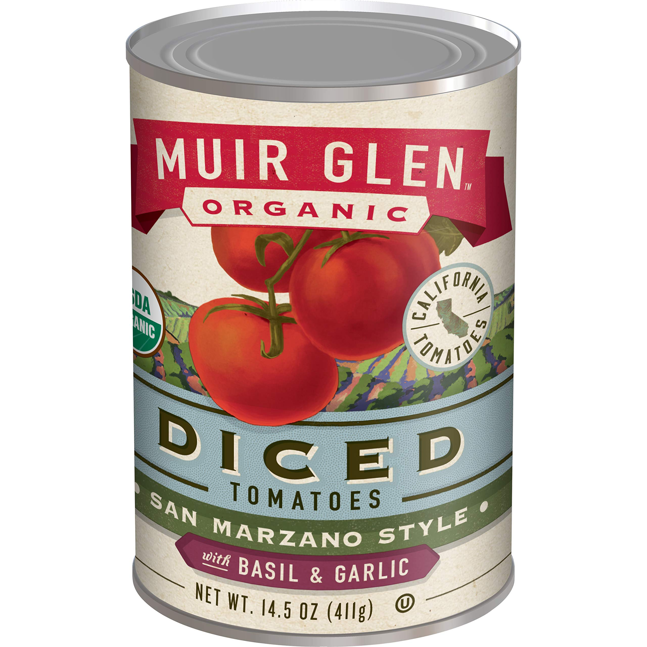 Muir Glen Canned Tomatoes, Organic Diced Tomatoes with Basil & Garlic, San Marzano Tomatoes, No Sugar Added, 14.5 Ounce Can (Pack of 12)