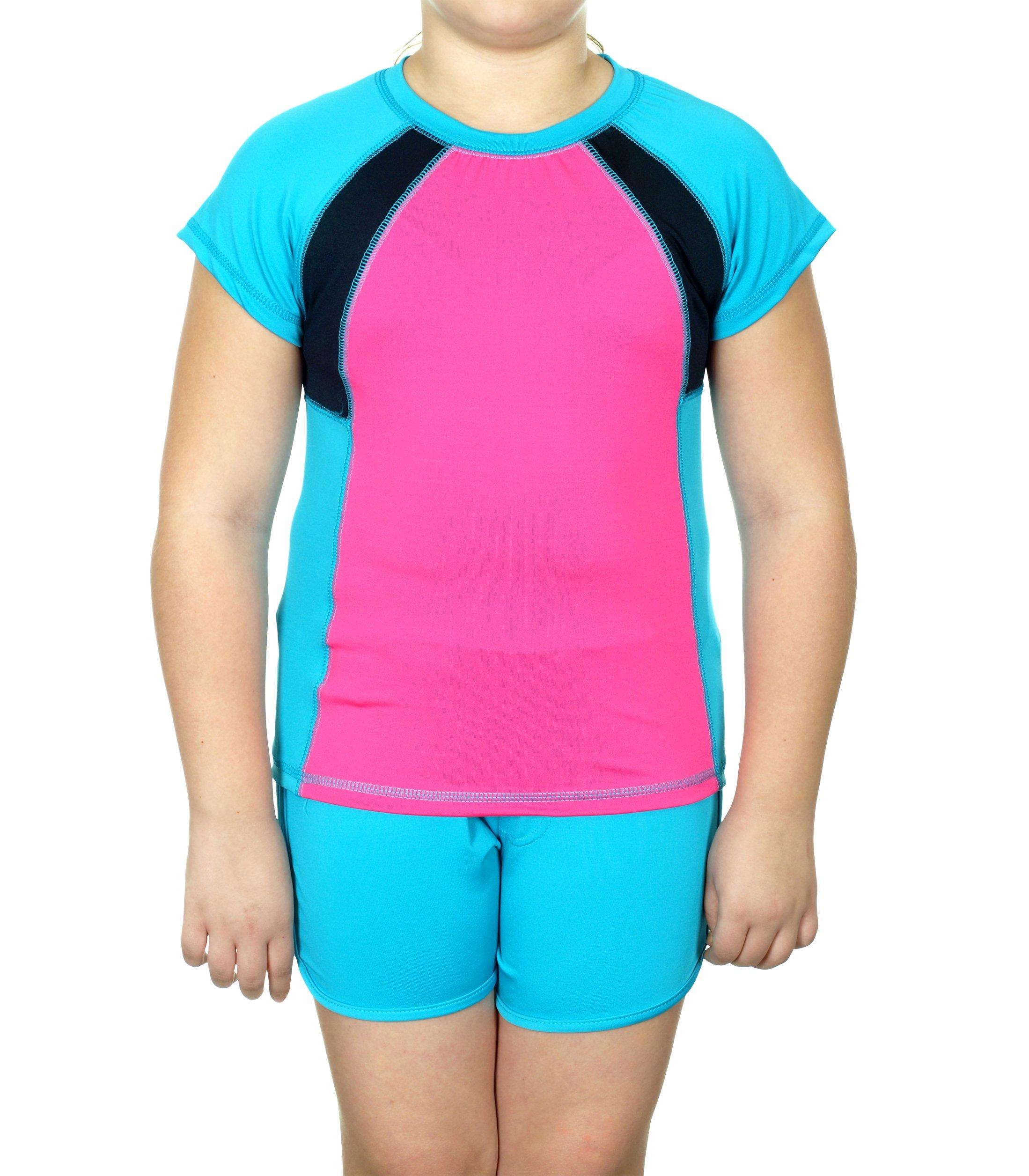 Girls 2-piece Florescent Shirt & Shorts Set (10/12, Aqua & Pink)
