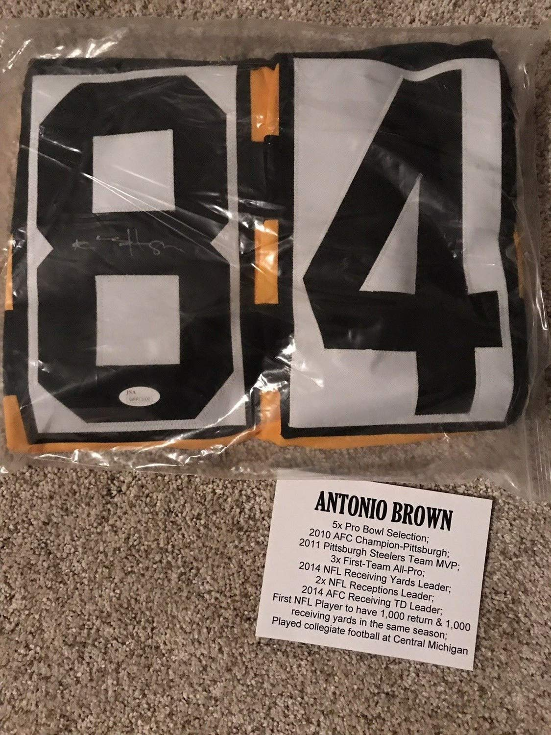 half off 86b6d c62d8 Antonio Brown Autographed Signed Steelers Autographed Signed ...