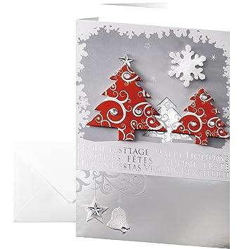 Weihnachtskarten Beschriften.Sigel Ds454 Handmade Weihnachtskarten Set Mit Umschlag Din A6 10 Stück Mit Einlageblatt Und 3d