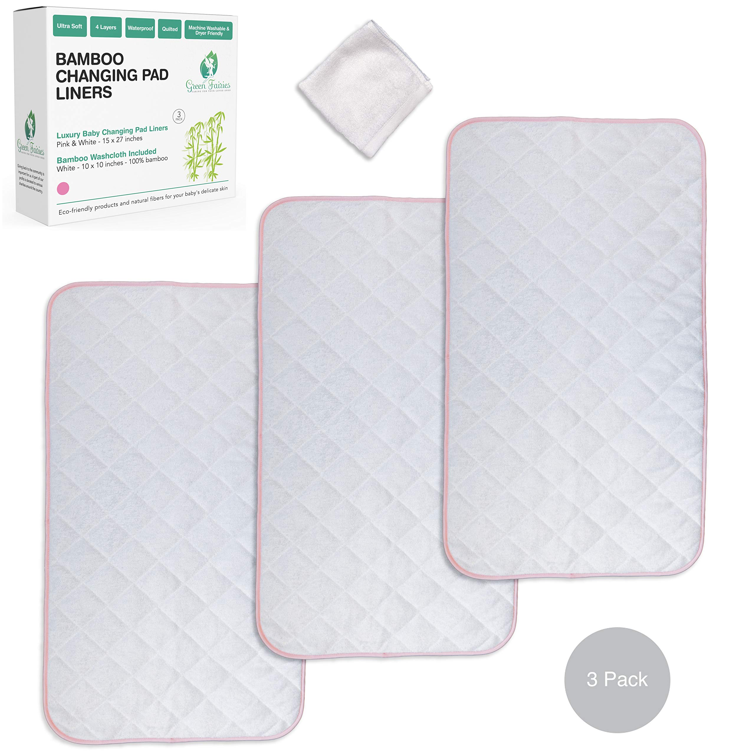 Extra Soft Bamboo Changing Pad Liners (3 Pack) and Washcloth   Pink and White   15 x 27 inches Diaper Changing Mats for Newborn, Infant and Toddler   Great Baby Gift   Waterproof, Washable, Reusable