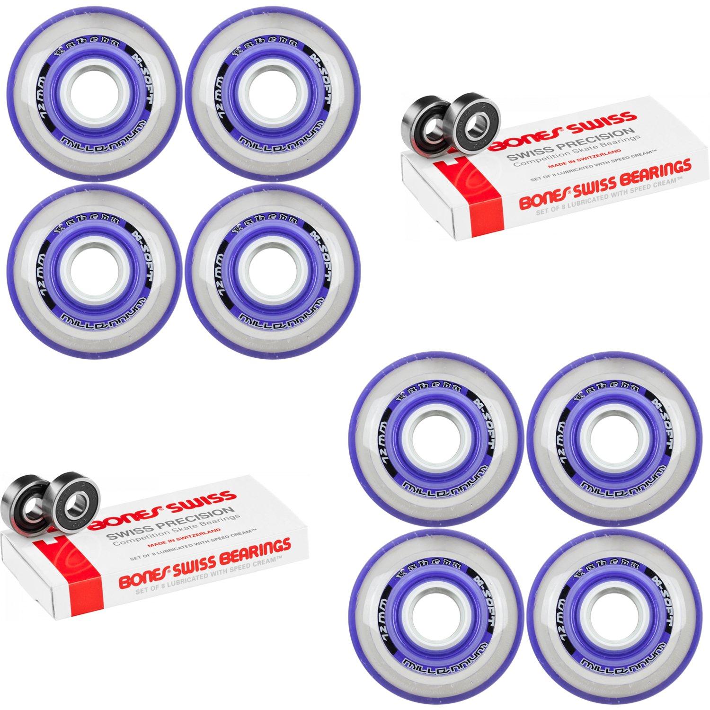 Labeda Millennium Gripper Purple Hockey Inline Wheels 72mm X-SOFT 8 Pack Swiss by Labeda