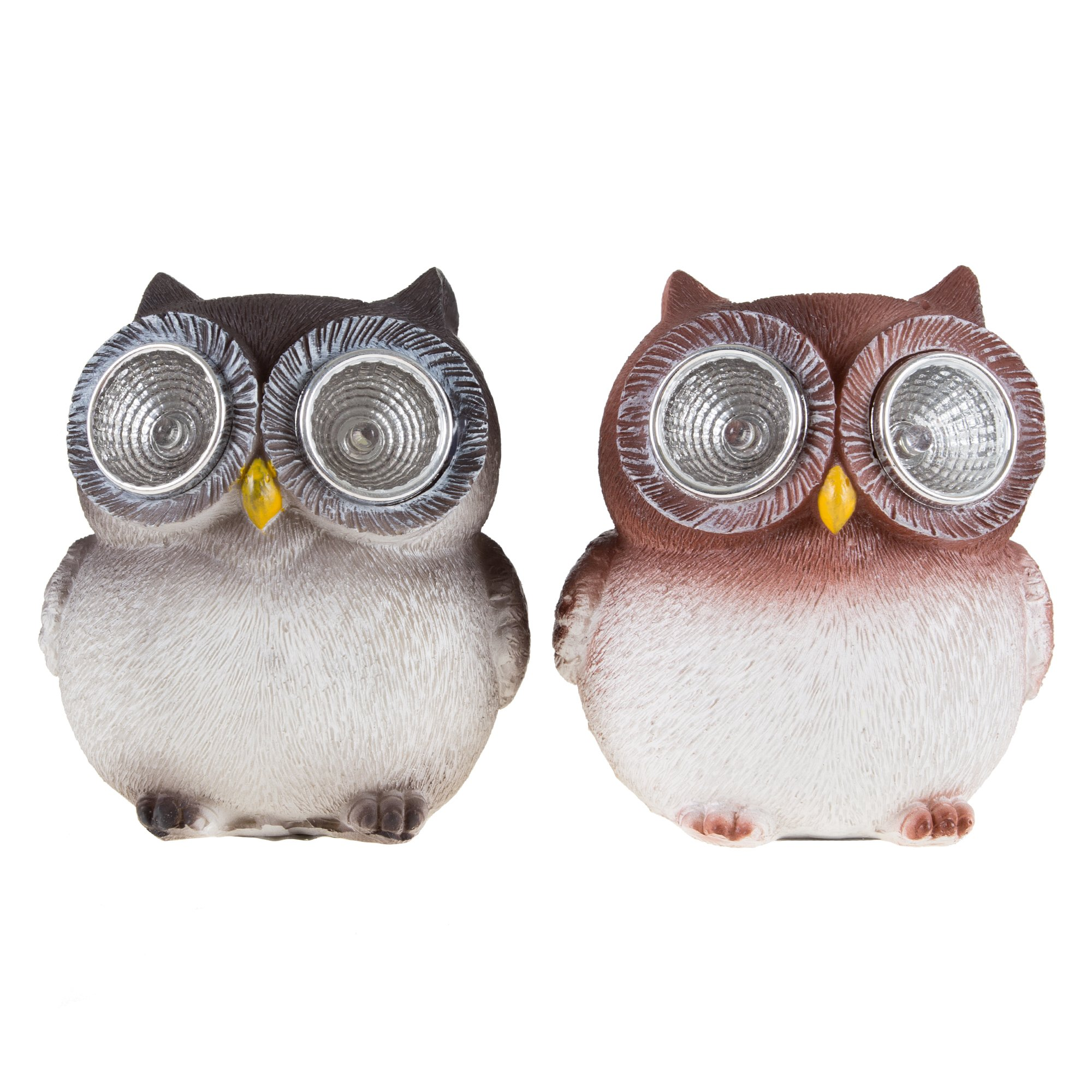 Pure Garden Yard Décor, Solar Outdoor LED Light and Battery Operated Statue for Garden, Patio, Lawn, and Yard by Owl set of 2 Statue