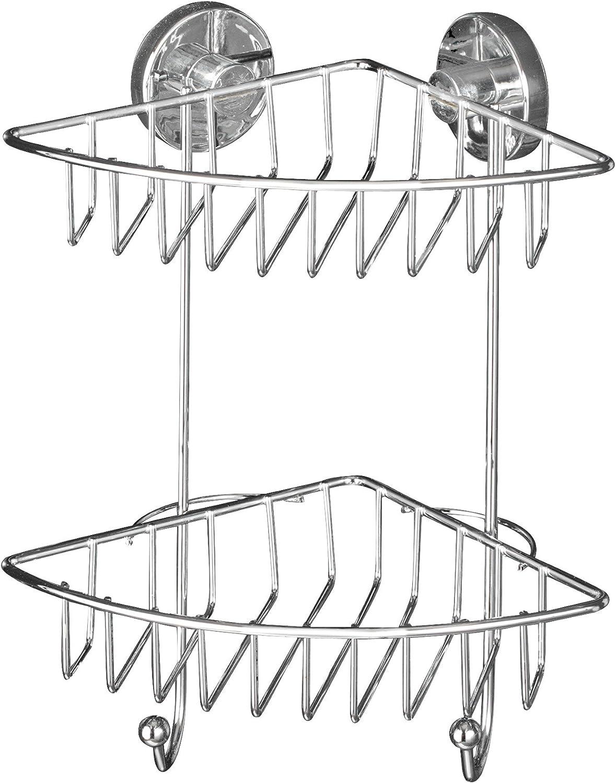 Wenko 20888100 Vacuum-Loc 2-Tier Corner Rack Bari - Fixing Without Drilling, Steel, 22.5 x 29.5 x 16 cm, Chrome