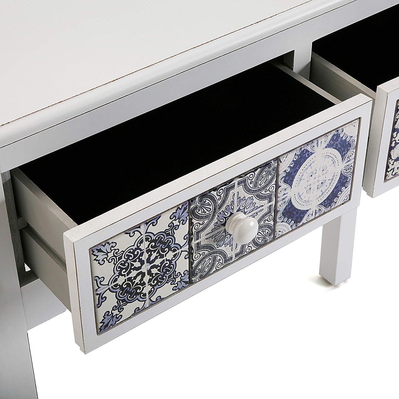 81 x 30 x 78 cm Blanco y Azul Versa 21260053 Mesa de Entrada Consola Pireo Madera