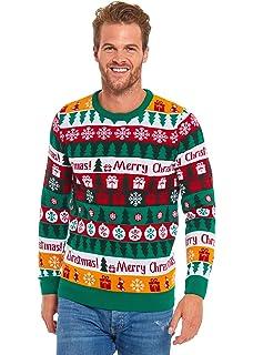 Mens Ugly Christmas Sweater Funny Rude Santa Reindeer Peeing Xmas