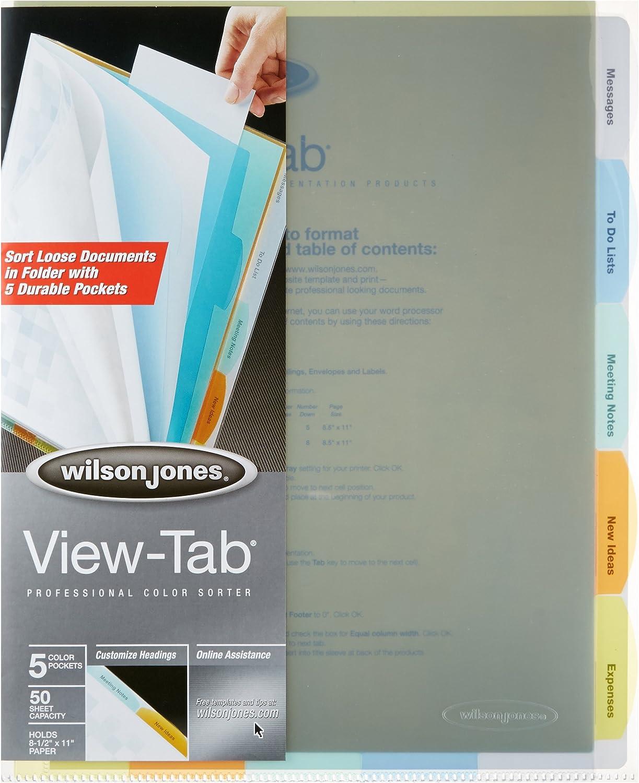 Wilson Jones View-Tab Professional Sorter Letter Size Multi-Color 5 Tabs W55120