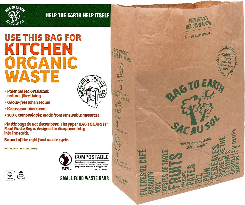 Bag to Earth - Kitchen Food Waste Bag -12U- Compostable Bag - Leak Resistant Cellulose Liner - Small - 12 Bags