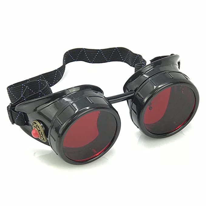 de44f4df94b Amazon.com  Steampunk Victorian Goggles welding Glasses diesel punk-limited  GGG-red  Clothing
