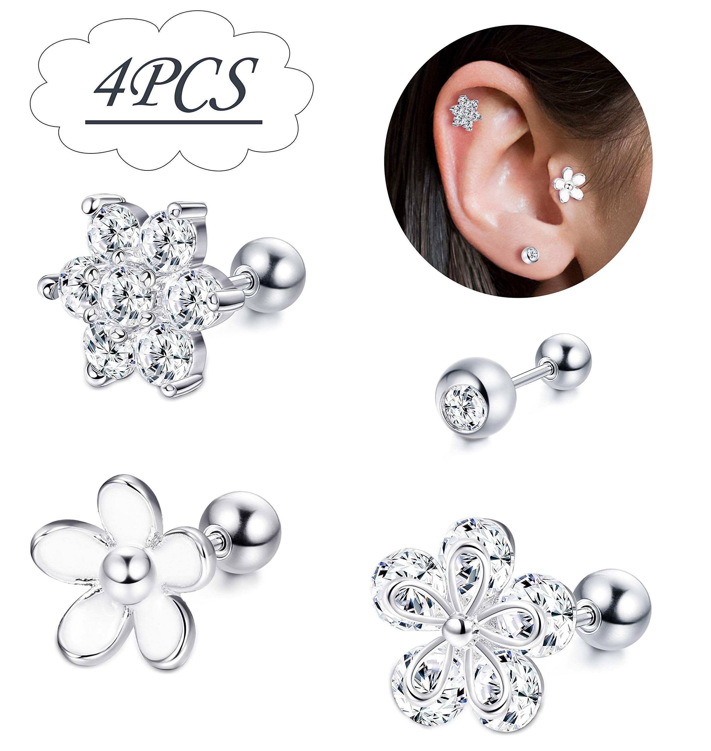 Hanpabum 4Pcs 16G Cartilage Helix Earring Labret Monroe Stud Internally Threaded Flower Barbell Piercing Jewelry