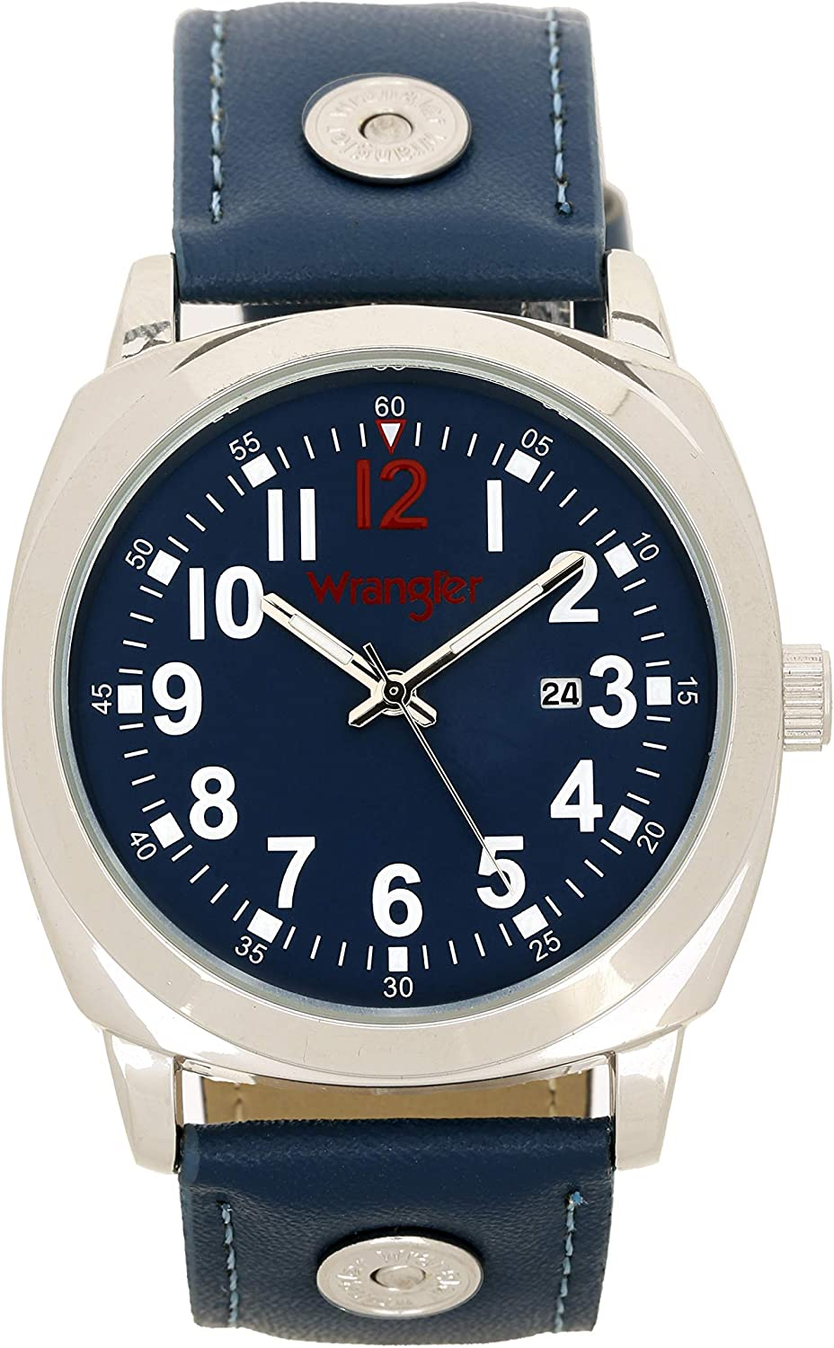 Wrangler Men s Watch, 44mm Polyurethane Band with Rivets, Second Hand Date Function