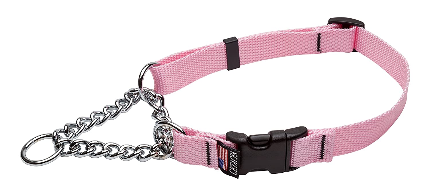 Baby Pink Large Baby Pink Large Cetacea Chain Martingale Dog Pet Collar with Quick Release, Large, Baby Pink