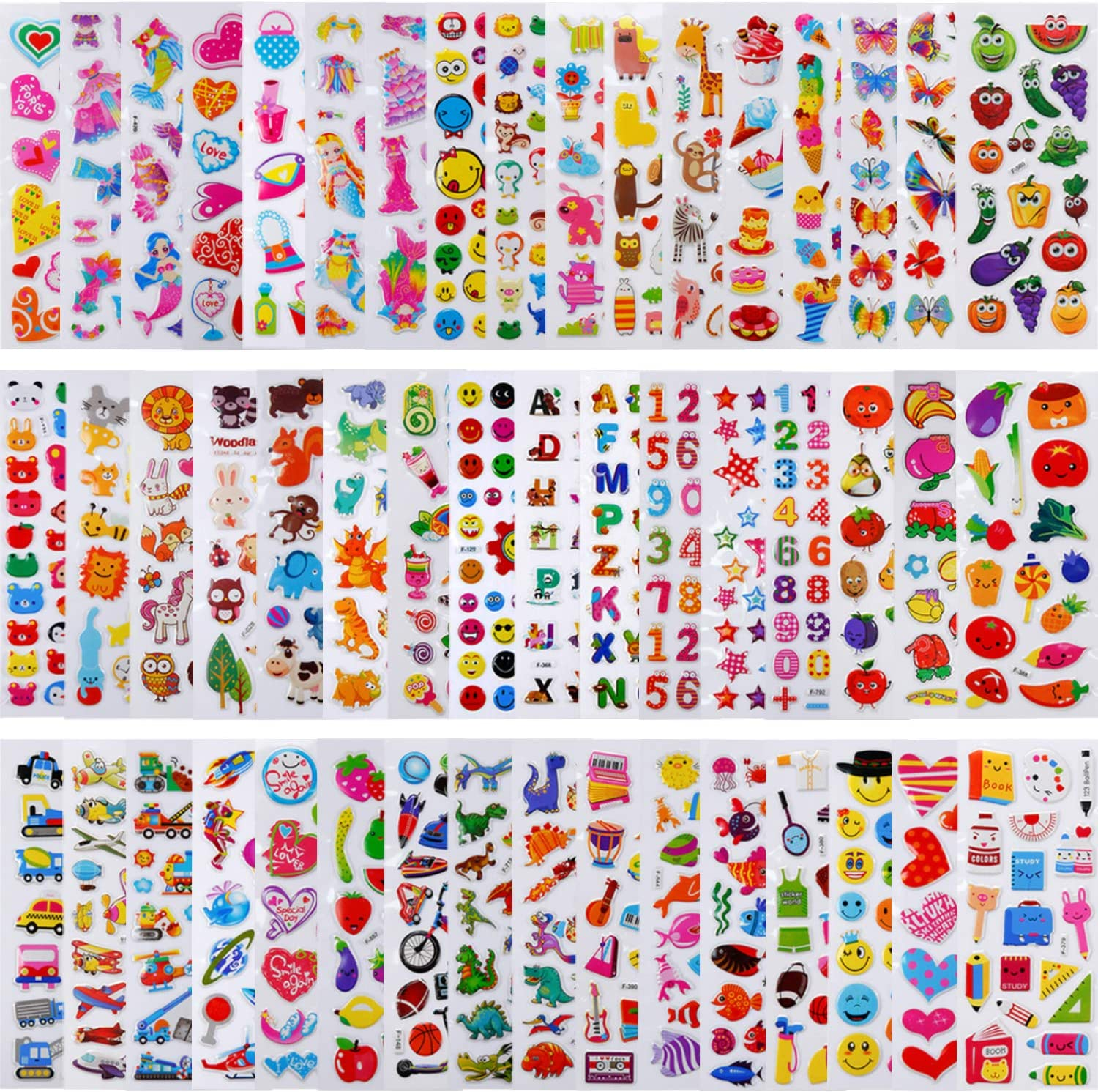 PuTwo Stickers 1000+, 50 Different Sheets Puffy Stickers, Cute Stickers, Kids Stickers, Sticker Sheets, 3D Stickers, Stickers for Kids, Stickers for Toddlers, Sticker for Birthday Gift, Kid's Crafts