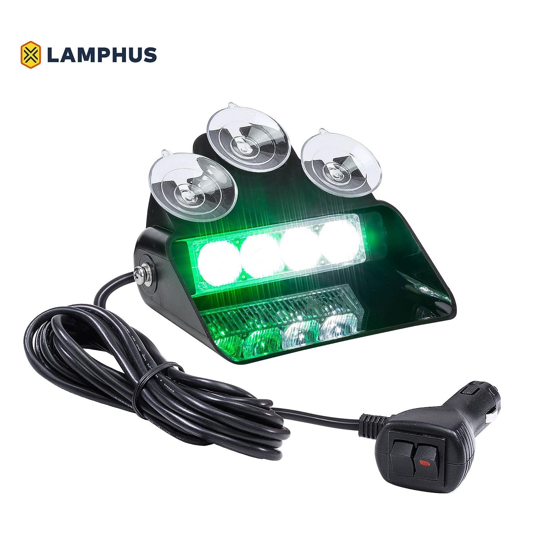 LAMPHUS SolarBlast SBWL14 Emergency Vehicle LED Dash Light ADJUSTABLE ANGLE 4W LED Green White Strobe for Dash Deck /& Windshield 32 UNIQUE FLASH PATTERNS