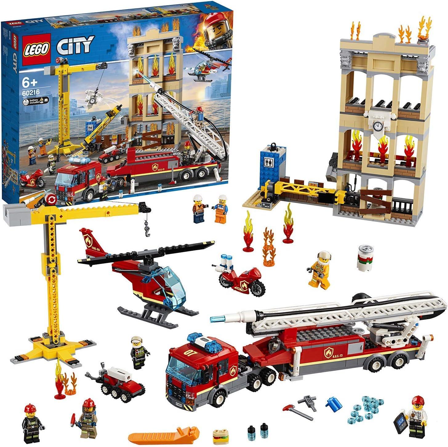 LEGO City - Fire Brigada Distrito Centro, Juguete Divertido y Creativo de Bomberos con Camión, Grúa, Edificio, Moto y Helicóptero (60216): LEGO: Amazon.es: Juguetes y juegos