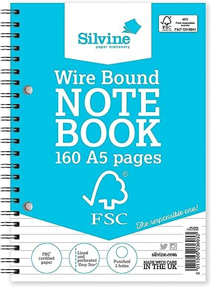 Import Royaume Uni Silvine R/éf FSCTWA5 Cahier en papier FSC Reliure int/égrale Lign/é 104 pages A5 Lot de 5