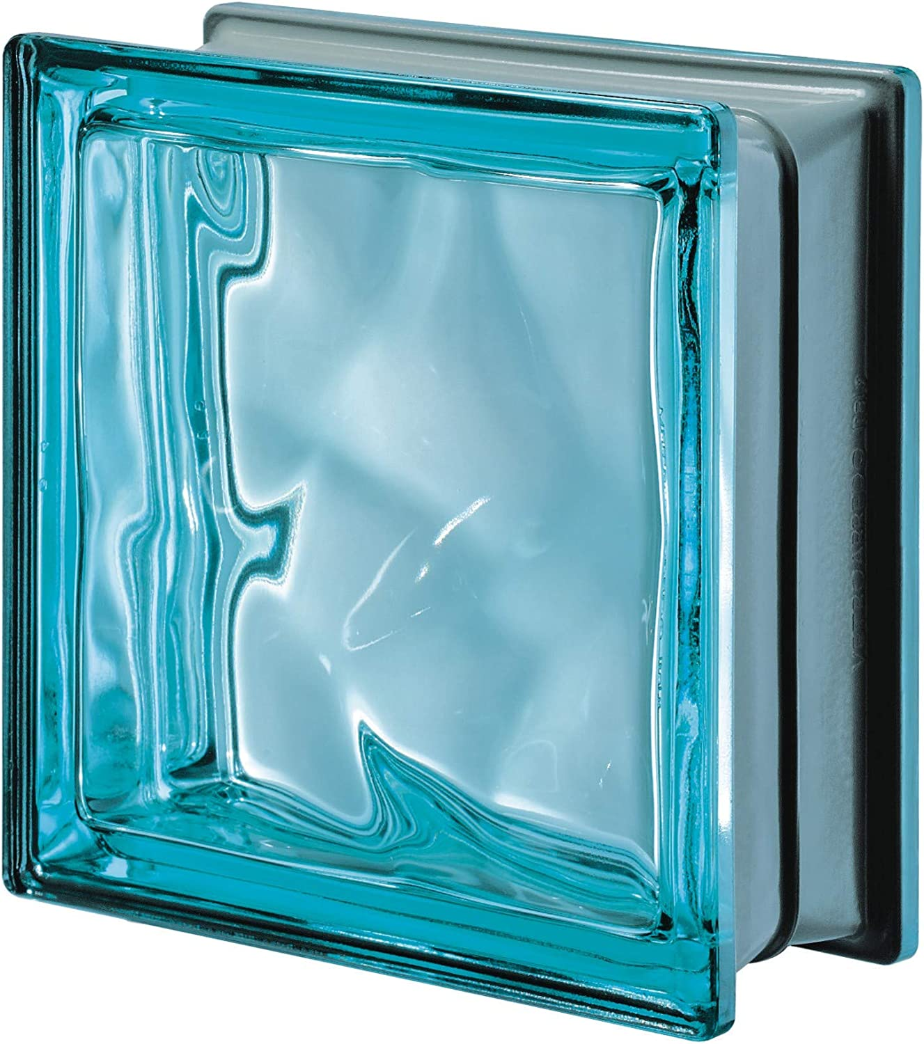 Seves Glass Block 7.5 x 7.5 x 3 Basic Wave Turquoise Color Glass Block