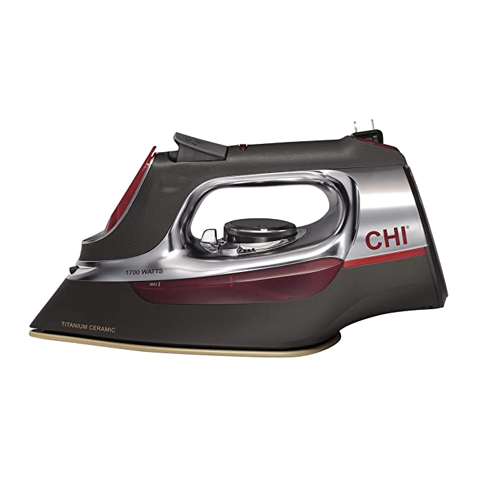 CHI (13106) Steam Iron With Retractable Cord, Titanium Infused Ceramic Soleplate & Over 400 Steam Holes, Professional Grade