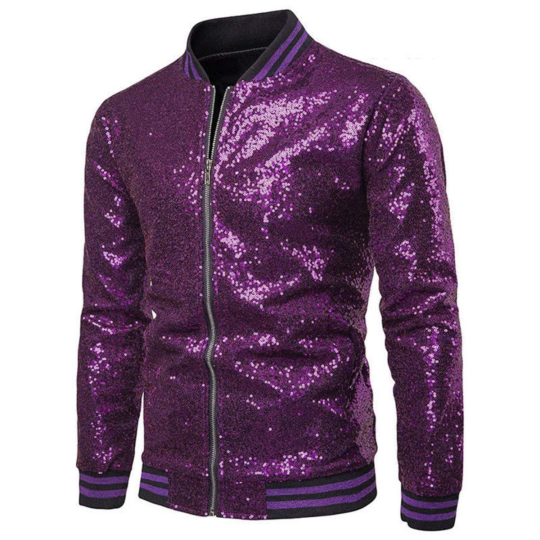 Mens Sequin Metallic Nightclub Disco Jacket Biker Moto Zipper Shiny Autumn Winter Slim Fit Coat Outerwear (Purple, XXL) by Gweiwei