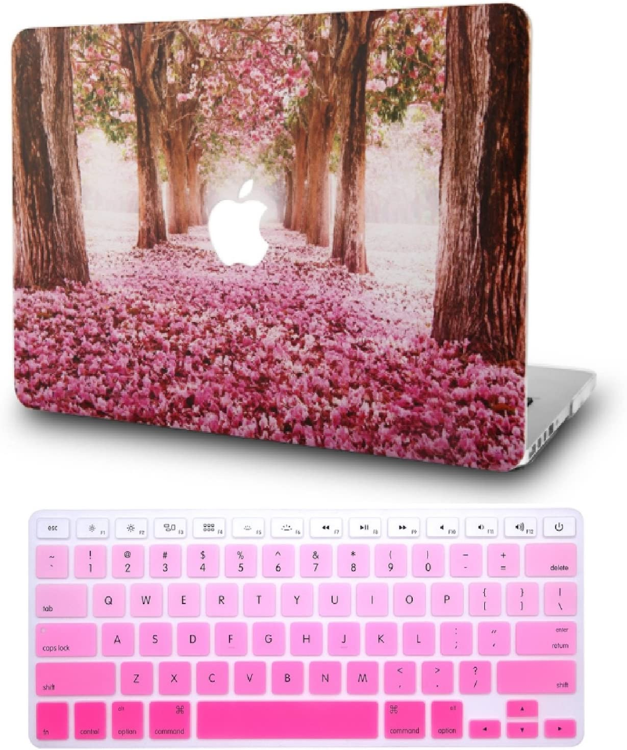 "KECC Laptop Case for MacBook Pro 13"" (2020/2019/2018/2017/2016) w/Keyboard Cover Plastic Hard Shell A2159/A1989/A1706/A1708 Touch Bar 2 in 1 Bundle (Cherry Blossoms)"