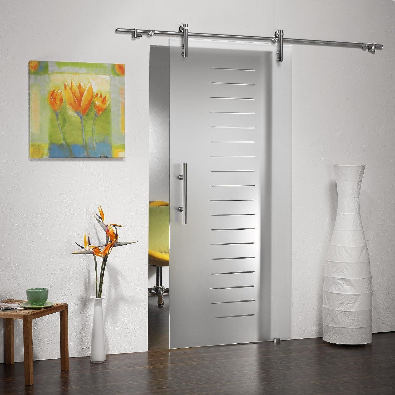 Puertas correderas de cristal ST 751 - 900 x 2050 x 8 mm DIN derecha, 8 mm el vidrio de seguridad, con vidrio estriado de cristal Satinato, barras de sujeción y el