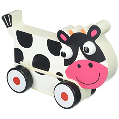 Imagination Generation Wooden Wonders Push-n-Pull Spotted Cow Toy: Toys & Games