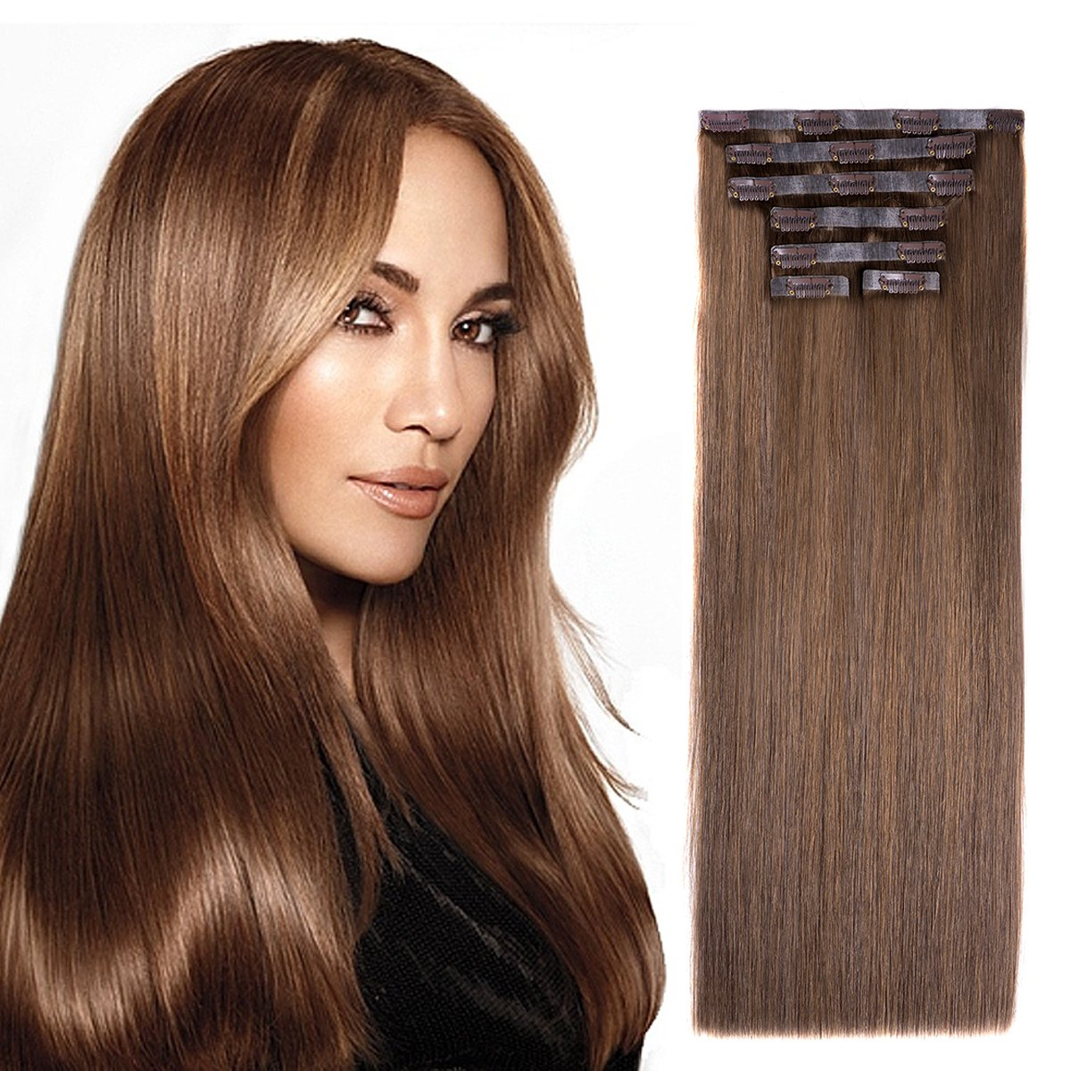 Amazon 20 Seamless Clip In Hair Extensions With Invisible