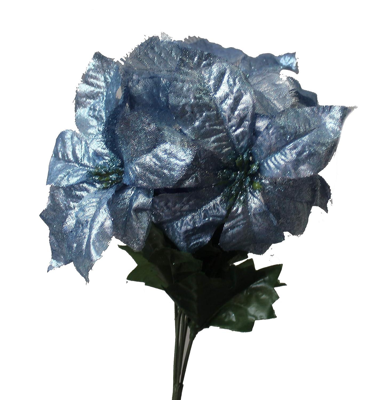 Christmas Bush Tea.Set Of 2 14 Sparkling Christmas Bush With Artificial 6 Poinsettia Flowers Light Blue