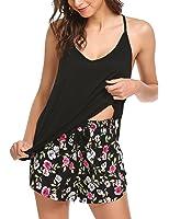 Ekouaer Casual Tank Bottom Cotton Pajama Shorts Set For Women