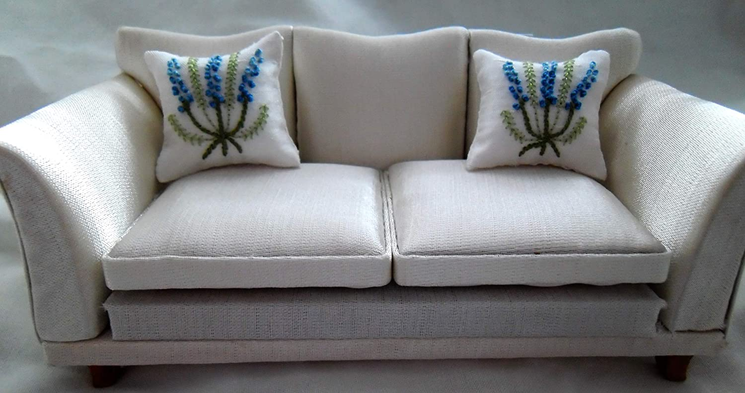 Blue Lupins 1//12th Scale Hand Embroidered Dolls House White Cushions