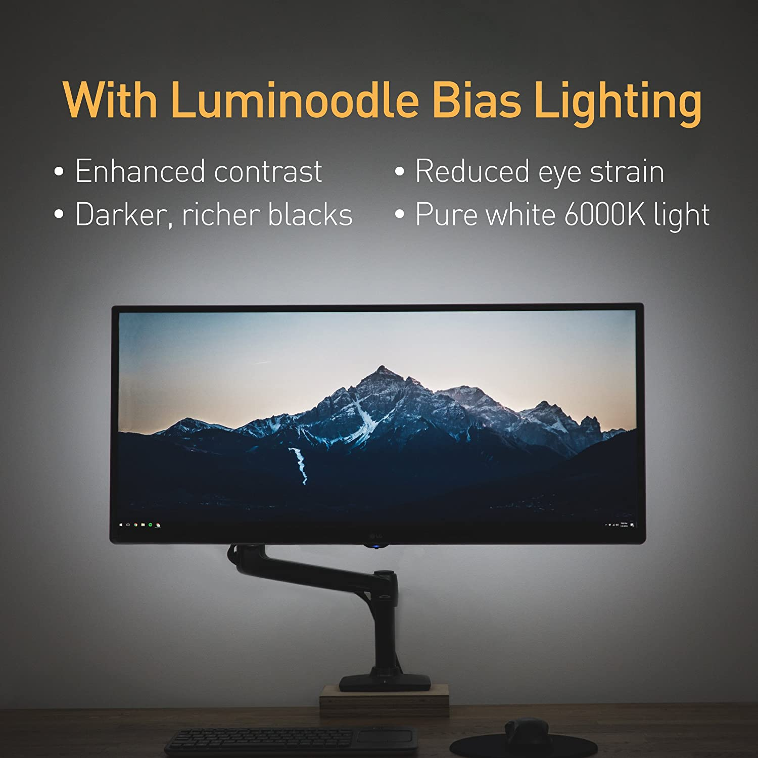 amazon com luminoodle computer monitor bias lighting usb tv