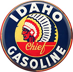 Open Road Brands Idaho Gasoline Blue Chief Tin Metal Sign Wall Art Button - Officially Licensed Product - Perfect Addition of What You Love to Your Home Décor