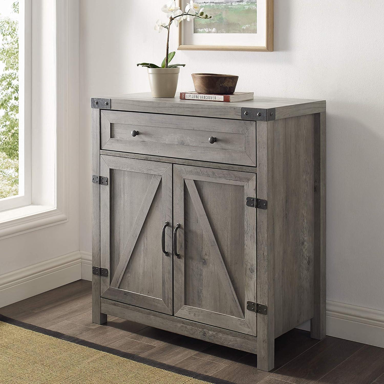 Walker Edison Farmhouse Barn Door Wood Accent Cabinet Entryway Bar Storage Table, 30 Inch, Grey Wash