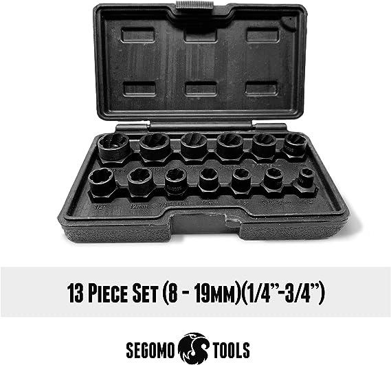 Segomo Tools Lug Nut and Bolt Extractor Removal Metric and SAE Socket Tool Set 9-19mm