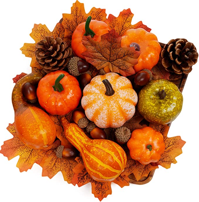 Amazon.com: Keepax Artificial Pumpkins Home Decoration Set, Mixture of 50 Thanksgiving Artificial Harvest Decoration, Halloween Decoration: Home & Kitchen