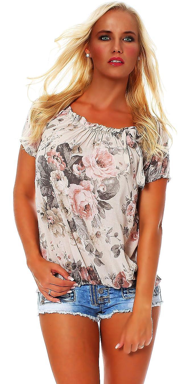 Zarmexx Blusa Para Mujer Top Camisa Floral Camisa de Manga Corta Blusa de Viscosa * Grande Rosa *...