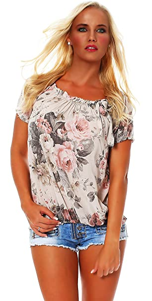 Zarmexx Blusa Para Mujer Top Camisa Floral Camisa de Manga Corta Blusa de Viscosa * Grande