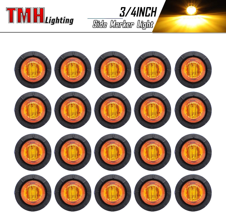 (Pack of 20) TMH 3/4 Inch Mount Amber LED Clearance Bullet Marker lights, Side LED marker lights for trailer Truck RV Car Bus Van 81TEHmuv9vL